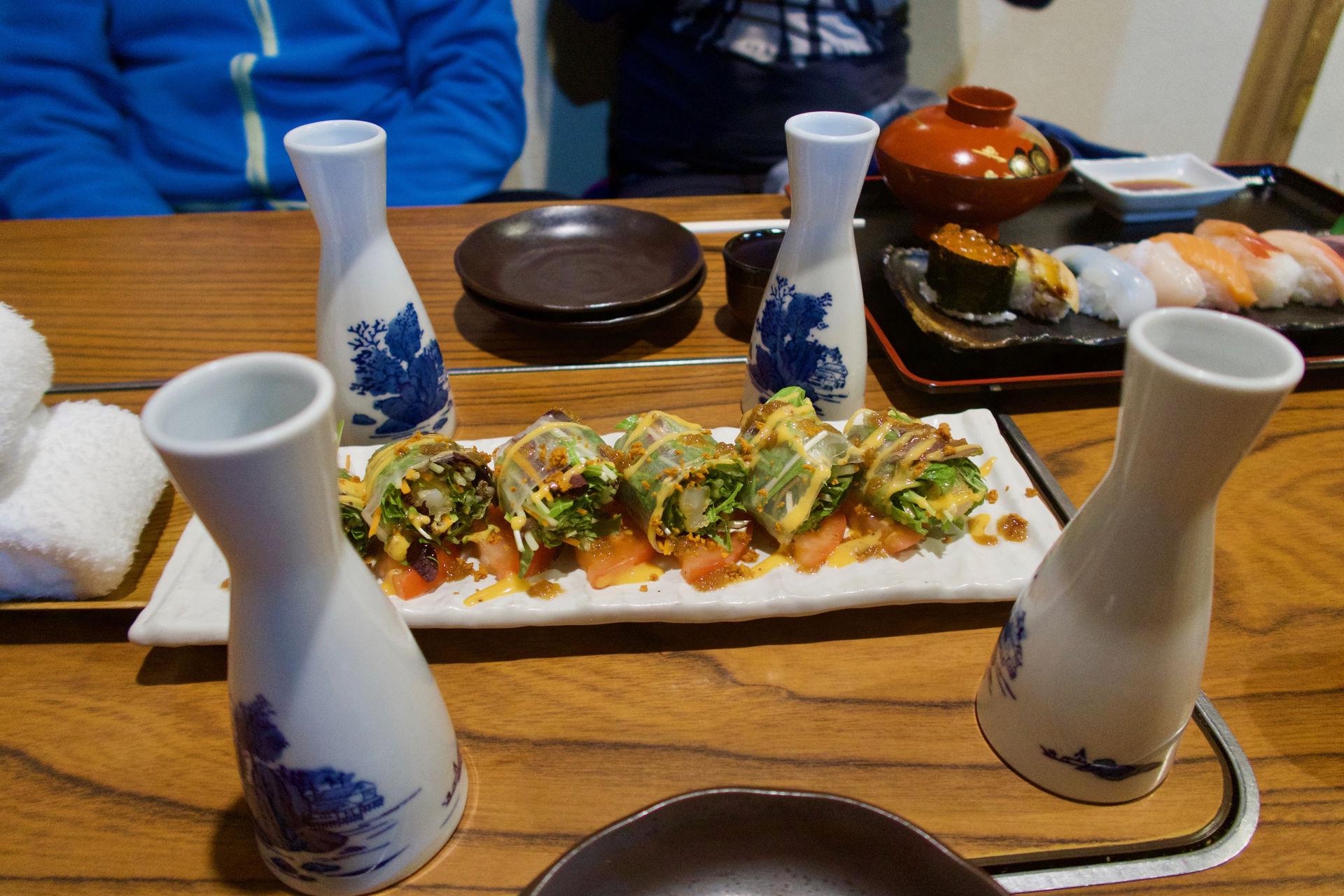 Sushi, sake a ramen v Hokkaido Japonsko