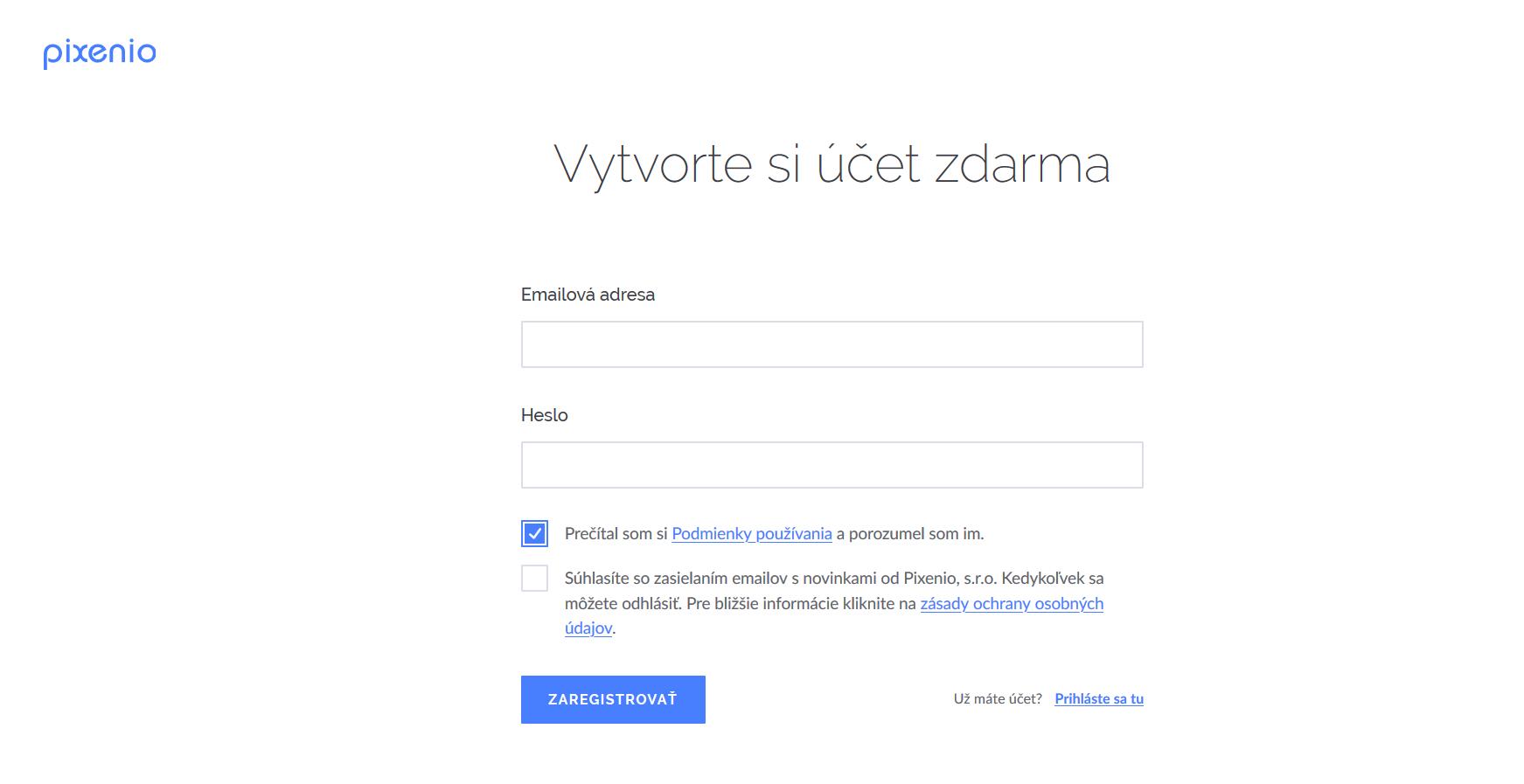 podstránka registrácia na Pixenio webe