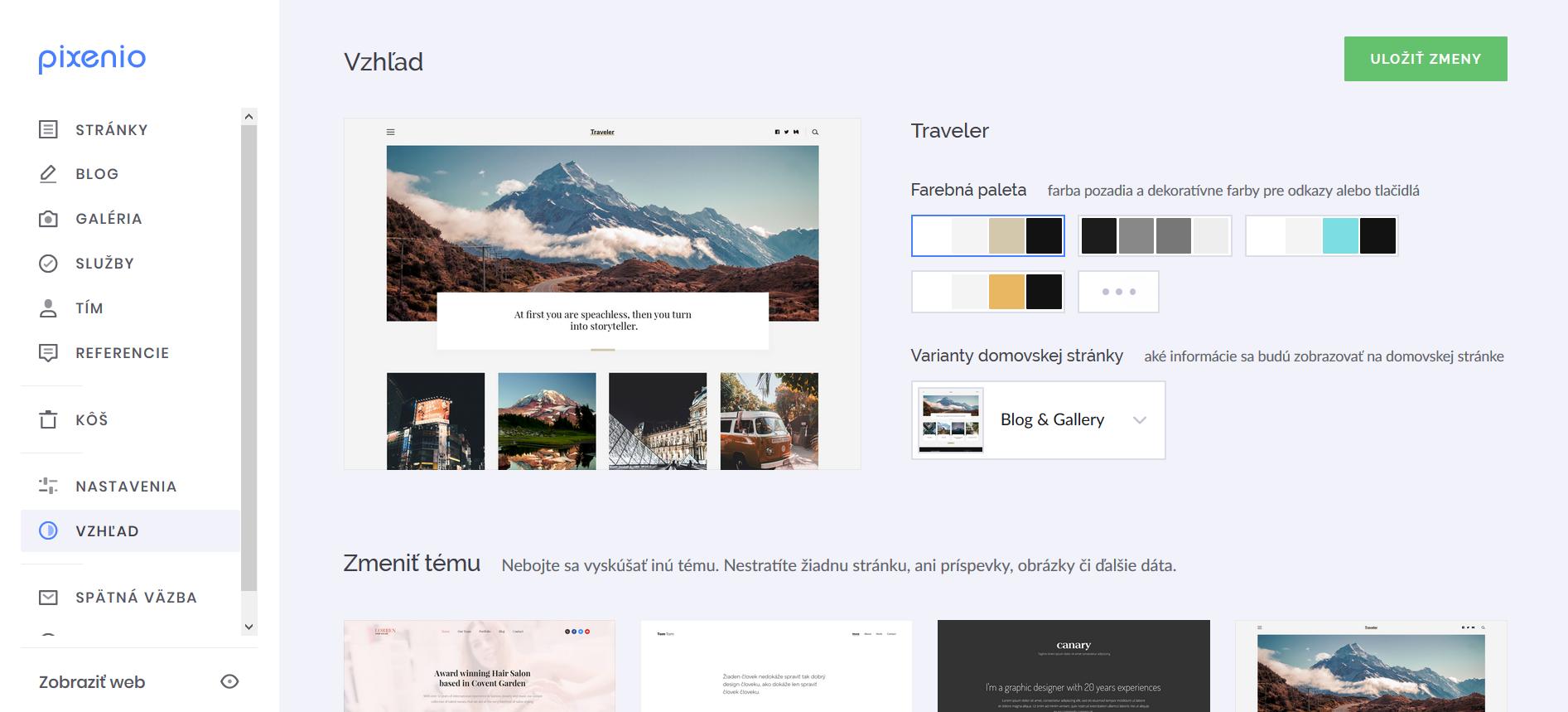 konfigurácia pre vzhľad web stránky
