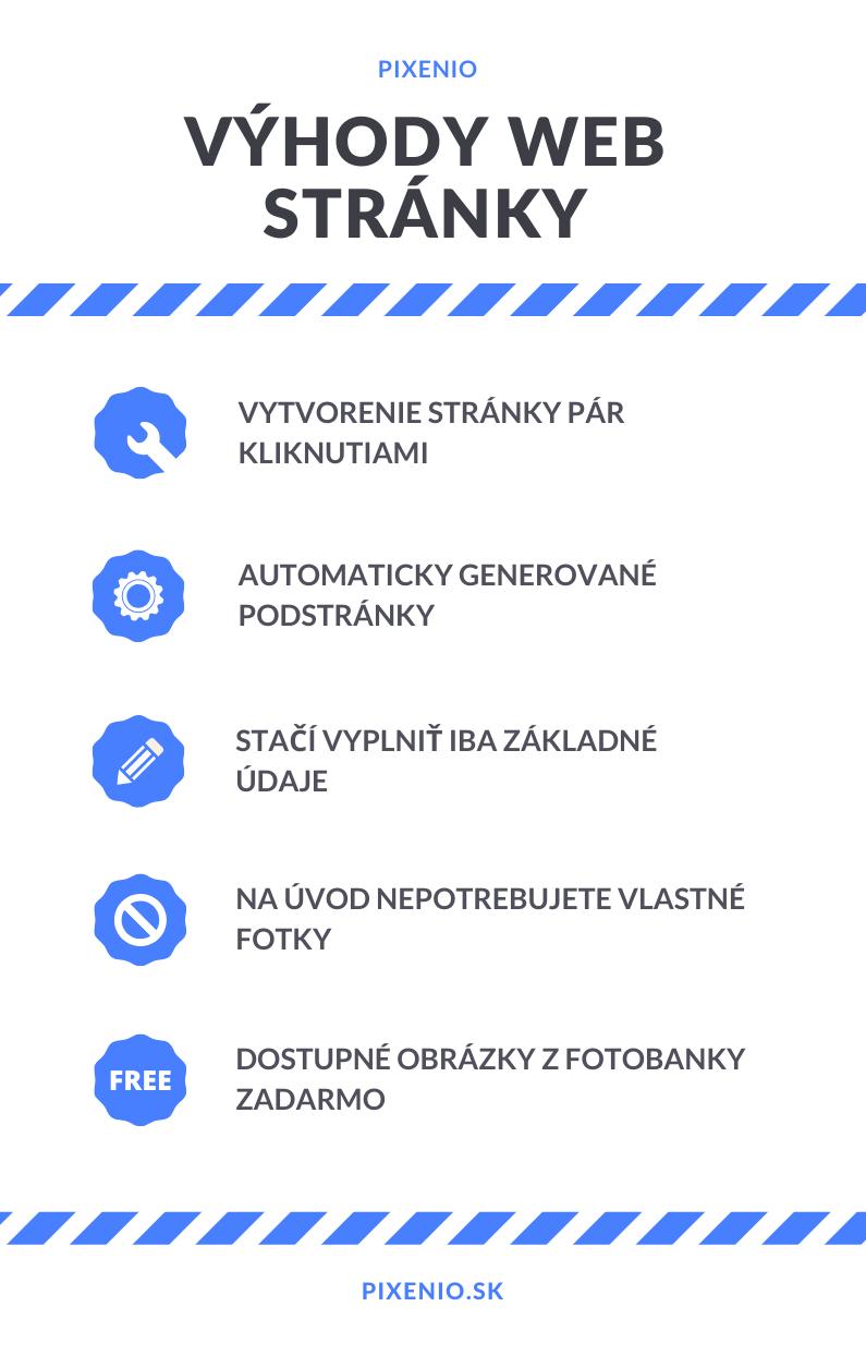 infografika výhody web stránky cez Pixenio