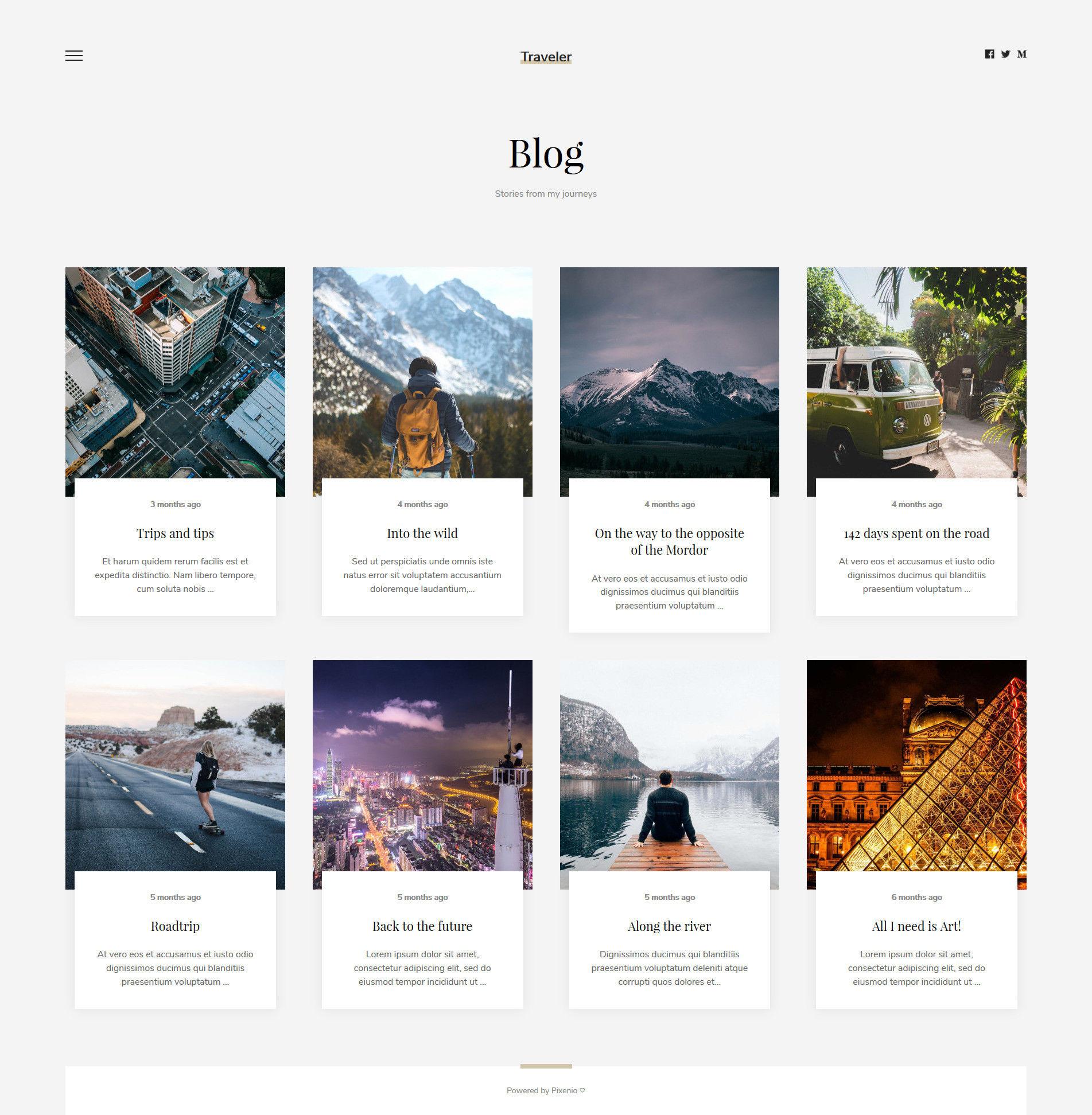 Cestovateľský blog vytvorený cez Pixenio