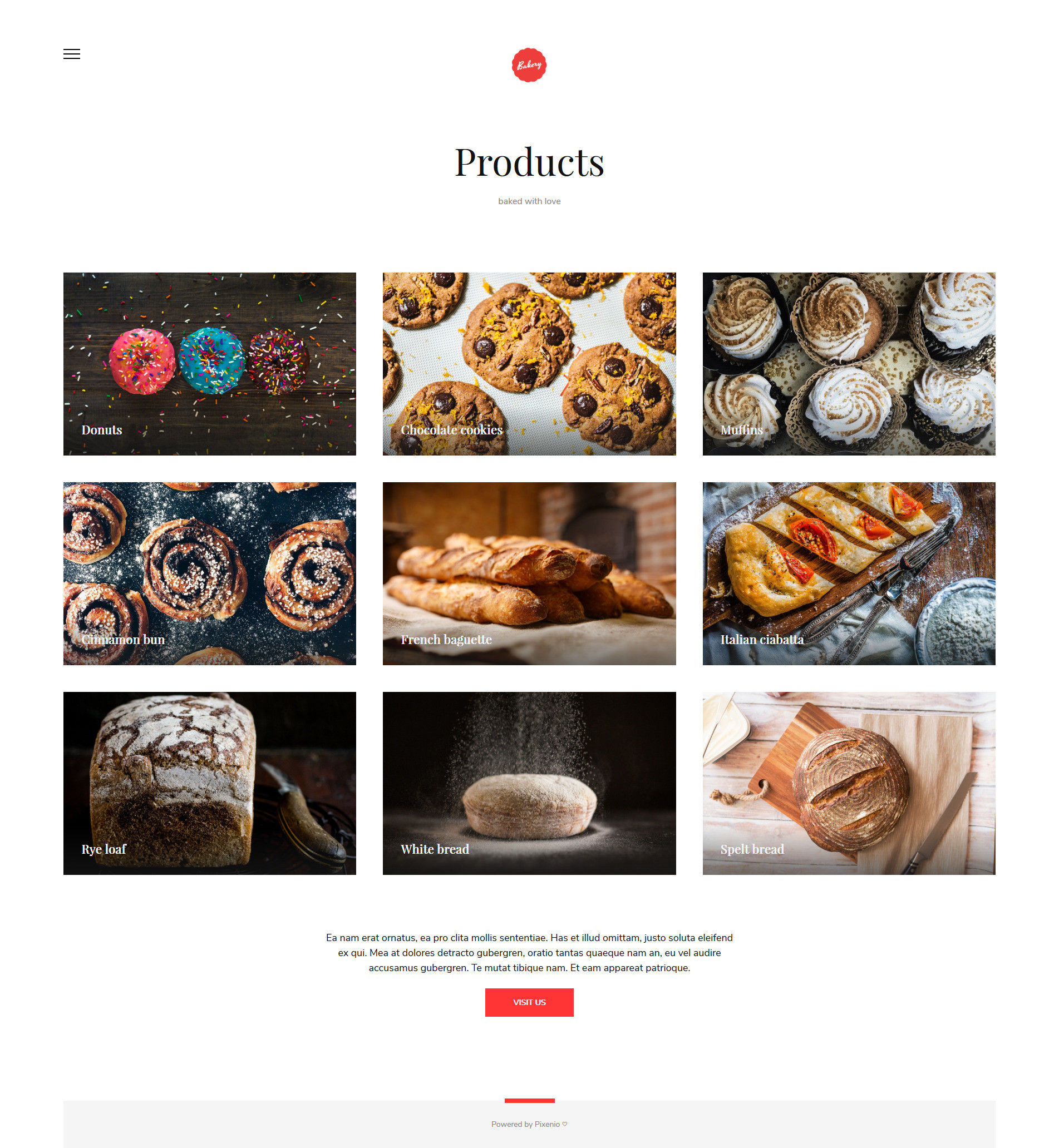 Online bakery website products